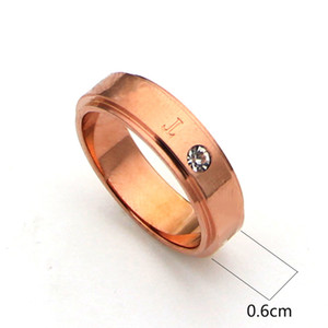 High quality minimalist stainless steel ring 18K rose silver ring for fashion people and couples gift come with dust bag and box
