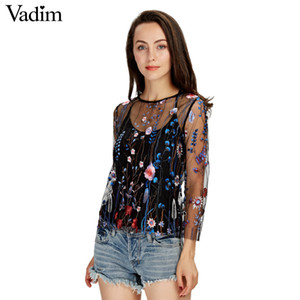 Wholesale- Vadim women sexy see through floral embroidery mesh shirts transparent long sleeve blouse female casual  tops blusas LT1810