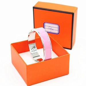12mm De Luxe Manchette BraceletsBracles Bracelet Émail Bracelet Argent H Boucle Top qualité Bracelets Pour Femmes YX015