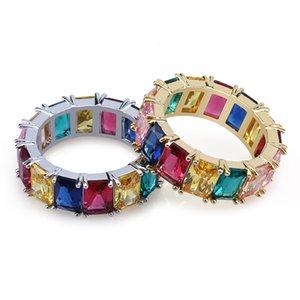 Anelli Cubic Zirconia Rainbow degli uomini di nuovo arrivo Iced Out Micro Colorful Square CZ Ring Gioielli in ottone placcato oro Punk Hiphop