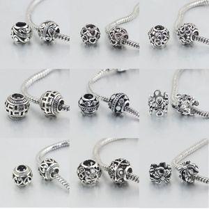 Spedizione gratuita MOQ 20 pz argento openwork fiore cuore sapcer gioielli fai da te marcatura perline fit pandora braccialetto di stile europeo collana D007