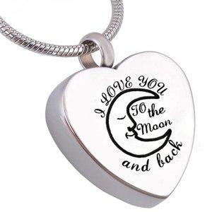 Accessoires de bijoux de mode je t'aime à la lune urne de crémation bijoux coeur commémoratif collier de souvenir de cendre en acier inoxydable