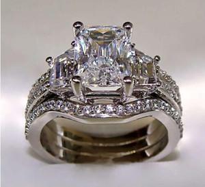 SZ5-11 Frete grátis Moda jóias princesa corte 10kt ouro branco cheio GF topázio branco CZ Simulado Diamante Senhora Do Casamento mulheres anel set