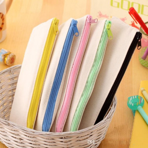 Hot selling 20.5*8.5cm DIY White Canvas Blank Plain Zipper Pencil Pen Bags Stationery Cases Clutch Organizer Bag Gift Storage Pouch