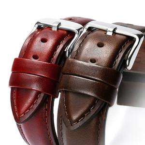 2018 Nueva correa de reloj banda de cuero Hombres Mujeres 22 mm 20 mm 18 mm 16 mm 14 mm 12 mm Correa correa Watchbands pulsera pulsera genuina