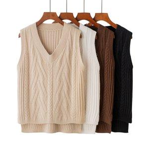 2018 패션 캐시미어 스웨터 조끼 단색 루스 오버 코트 여성 브이 - 넥 두께 니트 양모 코트 겨울 따뜻한 여성 풀오버 조끼