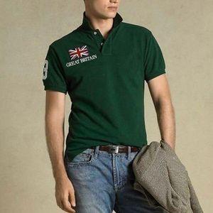 Freies Verschiffen! Qualitäts-TopsTees Shirts Short Sleeve Stickerei Turn-down-Kragen Nationalflagge großes Pferd Polo Männer-T-Shirt aus 100% Baumwolle