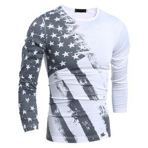 New American Flag T-Shirt Uomo Sexy 3D Stampa O-Collo Tshirt Slim Fashion 3 Modelli a strisce USA Flag Maglietta a maniche lunghe Casual Tops Tees