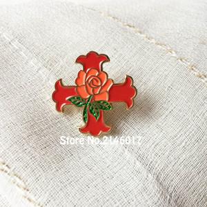 10 stücke Rotes Kreuz Von Constantine Rose Glitter Pins Brosche Freimaurer Revers Pin Ritter Scottish Rite Free Masons Emaille Abzeichen