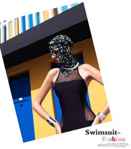 SBART Gorras de natación Lycra para mujer Floral Swim Cap Ear Protect Facekini Summer Balaclava Anti-UV Swimming Sunscreen Máscara facial
