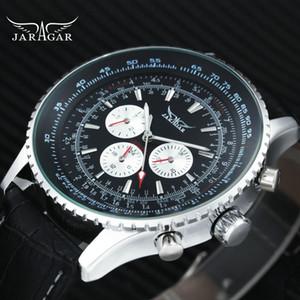 JARAGAR Sport Auto Orologio meccanico cinturino in pelle 6 mani bianco 3 sub-quadranti design di moda da polso relogio masculino