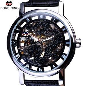 x Forsining 2017 Dragon Series Transparent Silber Fall Mens Uhren Top-Marke Luxus Mechanische Skeleton Watch Male Armbanduhren