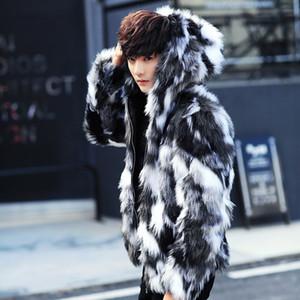 Izquierda ROM Invierno abrigo de piel masculina Abrigos de piel para hombre con capucha FurParka Oversized Men Overcoat Warm Faux Jacket Men S-3XL