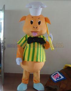 nouveau costume de mascotte Chef Pig Livraison gratuite taille adulte, fête de carnaval en peluche luxe chef mascotte Chef Pig célèbre les ventes de lusine mascotte.