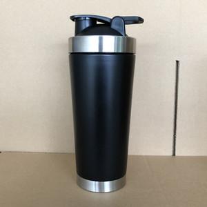 24oz из нержавеющей стали Белка шейкер Кубок 720 мл вакуумной изоляцией шейкер бутылка воды спорт смеситель молочный коктейль Кубок матовый черный серебро