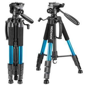 venta al por mayor azul 56 pulgadas / 142cm trípode de cámara de aluminio 3-Way giratoria Pan Head + bolsa de transporte para Canon / NikonLoad hasta 8.8 libras / 4 kg