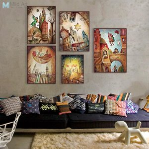 Wholesale-Vintage Retro Fantasy City Dream Boat Star A4 Poster Print Abstract Fairy Wall Art Pictures Home Decor Canvas Paintings No Frame