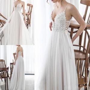 Asaf Dadush Boho 2019 lado de la playa Dividir una línea Vestidos de novia Elegante encaje Encaje Apliques Bohemia gasa por encargo