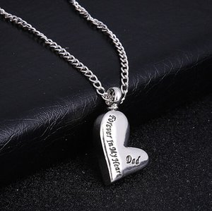 Silver Love Heart Cremation Cenizas Urna Colgante Collar Grabado Dad Forever In My Heart Memorial Father Jewelry Gift
