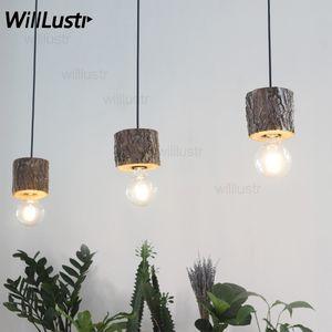 Willlustr original madeira madeira luminária restaurante do hotel sotão loja escritório sala de jantar natural rodada log luminária de suspensão
