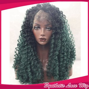 Yeni Seksi Afro kinky kıvırcık saç siyah ombre yeşil kıvırcık peruk siyah kadınlar için tutkalsız sentetik dantel ön peruk ile bebek saç