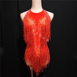 Sparkly Gold Strass Tassel Bodysuit Femminile Cantante DJ Sexy Stage Show Wear Body Jazz Dance Costume Cristalli Outfit