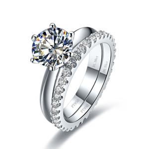 Livraison Gratuite Total 1.55t Bague de mariage Ensemble Blanc Gold Synthétique Diamond Anneaux Engagement Bague en argent massif 2 Anneaux dans un ensemble