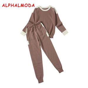 ALPHALMODA Aautumn Winter Frauen Stricken Hosen und Pullover 2 stücke Kleidung Sets Rundhals Pullover Farbe Stricken Taschen Hosen Sets D1892502