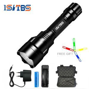 LED Flashlight XML-T6 8000LM C8 Tactical LED Flashlight Aluminum Hunting Flashlight Torch Lamp +18650+Charger