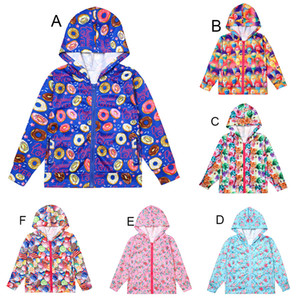 Baby Girls Floral Donut ice cream cat dog print coats autumn kids Hooded Tench coats Jacket children Outwear kid Clothing C4346
