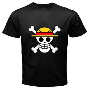2018 Fashion New One Piece Piraten Flagge Logo Luffy Anime Manga Männer Schwarz T-shirt Männer T-shirt Druck Baumwolle Kurzarm T-shirt