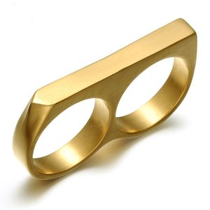 Lujoyce Rock Biker Uomo Two Fingers Charm Ring Titanio acciaio inossidabile Nightclub Modelli Due Fingers Rings for Men Jewelry