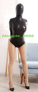 Sexy Women Short Body Suit Kostüme New Shiny Black Metallic Short Catsuit Kostüme Unisex Short Body Kostüme mit Zurück Long Zip M350