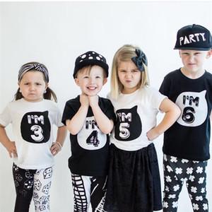Summer Baby White Black T Shirt Tops Children's Clothing 1 2 3 4 Years Birthday Girls Boys Kids Clothes Tee Girls Boys' T-shirts Casual Wear
