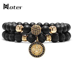 Noter Luxury Animal King Lion Head бисер браслет 2 шт черный Природный камень Мужские Braclet Наборы для ювелирных изделий Мужчины Женщины моды
