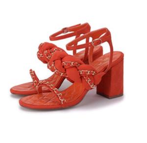 Sandalias de tacón de las mujeres de calidad superior de lujo original marca de moda de tela de cadena Celebrity Street Shoot simple Sandalias de punta de baño sexy sandalias de verano