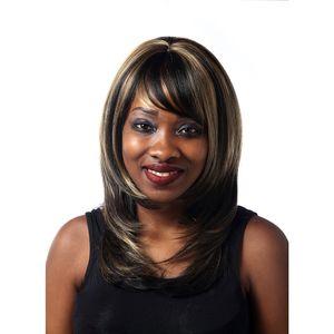 اصطناعي مستقيم بني داكن يبرز في الشعر مقاوم للحرارة الاصطناعية الجزء الأوسط الكتف طول إمرأة لمة مع بانج