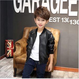 Boys Outwear Pu Leather Boy Big Casual Kids 100-160cm Black Brown 2021 Zipper Jackets Coats Retail Hqulq