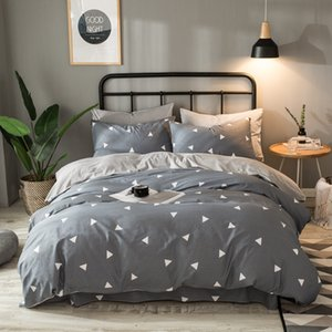 Coon Flannel Bedding Set Gray Geometric Paern Duvet Cover Solid Flat Sheet Soft Winter Fleece Bed Set Queen King For Adult