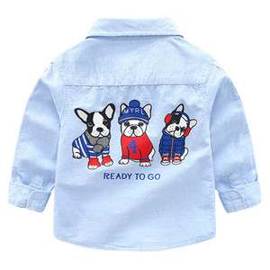2018 New Arrival Enfant Boys Girls Shirts Cotton Children Clothes Long Sleeve Classic Cartoon dog Kids Blouses Boys Shirt 2-6y