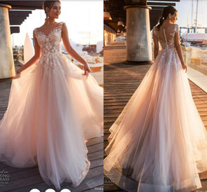 2018 Elegant Blush Pink Lace Appliques A Line Wedding Dresses Sheer Scoop Neck Tulle Covered Button Tulle Long Wedding Gowns Customize