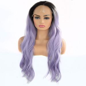 Кружева передние парики Фиолетовый Ombre Synthetic Natural Wave Black Root Ombre светло-фиолетовый жаропрочных волокна волос Lacefront Парик для чернокожих женщин