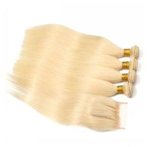 Virgin Brazilian Blonde Human Hair 4Pcs Bundle Deals with Closure Straight # 613 Blonde Human Hair Bundles con encaje de cierre 4x4