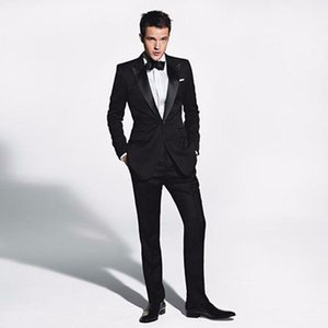 Italian Black Men Suits for Wedding Groom Tuxedos 2 Pieces Jacket Pants Best Man outfit Groomsmen Suits Peaked Lapel Costume Homme Prom Wear