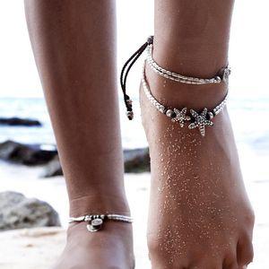 Fußkettchen Frauen Schmuck 2018 einfache Fußkettchen neue Sommer Strand Multilayer Bein Kette Boho ethnischen Hippie Quaste Sterne Körper Fuß Schmuck Großhandel