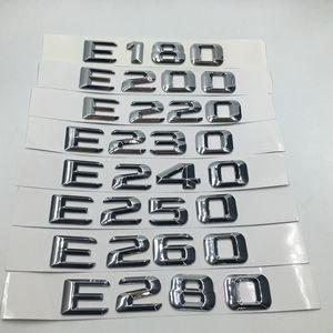 Per Mercedes-Benz Classe E E180 E200 E220 E230 E240 E250 E260 E280 Cromo numero Lettere posteriore del tronco del distintivo dell'emblema Sticker