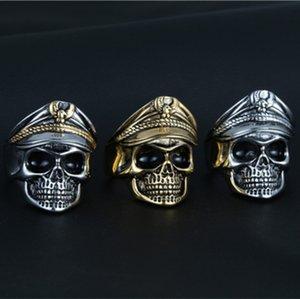 Top Skull Undead Legion Ring Retro Punk Tide Uomo in acciaio inossidabile Double Eagle Ufficiale Hat Ring Man's Military Hat Ring