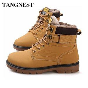 Tangnest Winter Fur Boots Casual Lace Up Safety Work Boots Otoño Hombre Plataforma Zapatos Caucho Botas para la nieve Hombre Tamaño grande 46 XMX637
