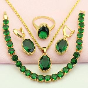 WPAITKYS Trendy Oval Green Cubic Zirconia Color oro conjunto de joyas para las mujeres pendientes collar colgante anillo pulsera caja de regalo libre