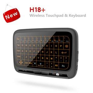 Backlight Mini Teclado Sem Fio com Touchpad Completo H18 + Retroiluminado Ar Rato TV Box Controle Remoto Controlador para PC Teclados QWERTY
